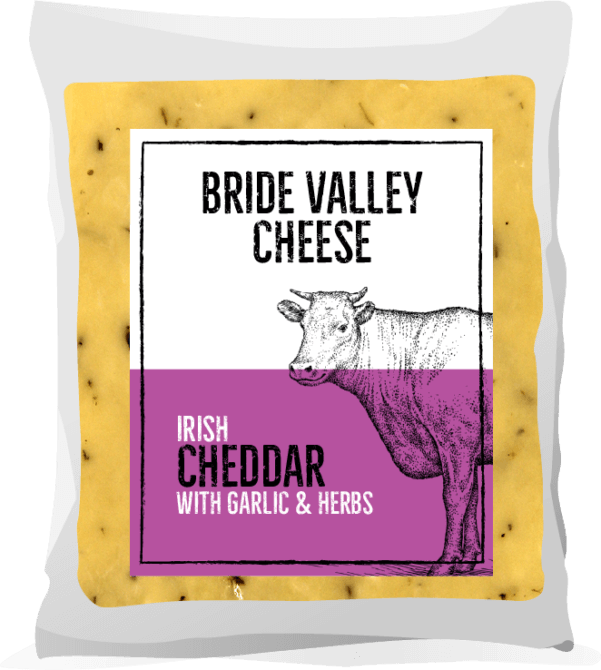 Bride Valley Cheese - Irish Cheddar with Garlic & Herbs